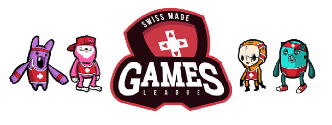 """Retimed"" characters in red outfits next to the logo for the Swiss Made Games League."