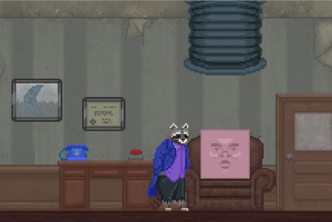 "Screenshot of ""The Raccoon Who Lost Their Shape."" Done in pixel art. Anthropomorphic raccoon wearing casual clothes in an office. There is a sentient square--with a face--sitting in a chair with him. On the wall, there is the framed image of a crescent."