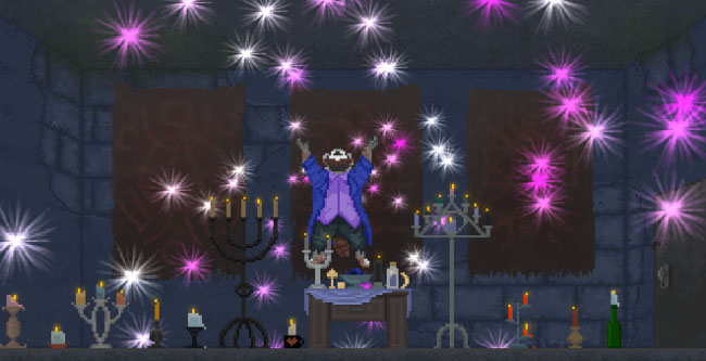 "Screenshot of ""The Raccoon Who Lost Their Shape."" Done in pixel art. Anthropomorphic raccoon wearing casual clothes in room with candles and other occult items. Raccoon is levitating off the ground, looking up at the ceiling, with his arms raised purple. There are white, purple, and pink sparkles in the air."