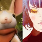 """Images of """"Moss"""" and """"Gris"""" next to each other. """"Moss"""" image shows a white mouse. """"Gris"""" image shows a blue-haired woman with pale skin; her eyes are closed, and one tear falls from her eyes."""