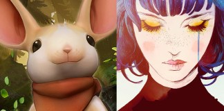 "Images of ""Moss"" and ""Gris"" next to each other. ""Moss"" image shows a white mouse. ""Gris"" image shows a blue-haired woman with pale skin; her eyes are closed, and one tear falls from her eyes."