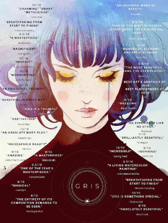 "Promo illustration of ""Gris"" with quotes praising the game on it."