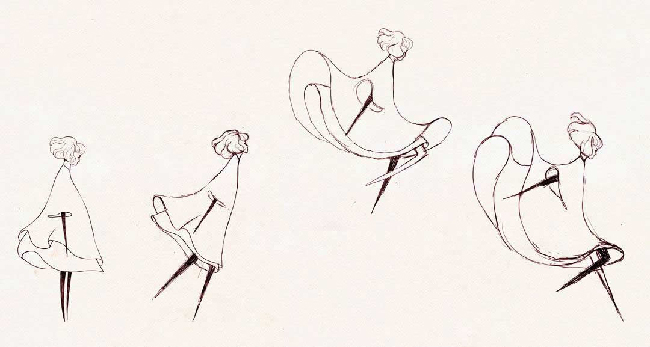 Black-and-white sketch of woman in a dress jumping. This is shown in a sequence of 4 images.