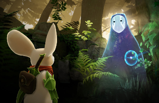"Picture of the game ""Moss."" It features a white mouse with a plant sword facing a mysterious creature in the forest."