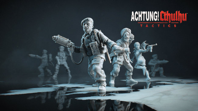 """Achtung! Cthulhu Tactics"" art that shows white sculptures of the main squad members."