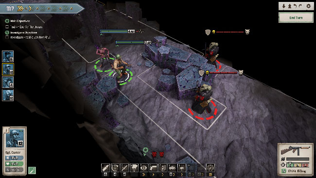 """Achtung! Cthulhu Tactics"" screenshot showing the squad fighting enemies in rocky terrain."
