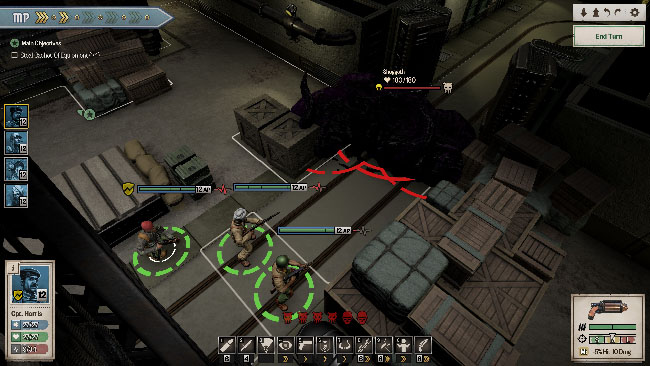 """Achtung! Cthulhu Tactics"" screenshot showing the squad fighting blob-like enemies with tentacles, in what looks like a warehouse."
