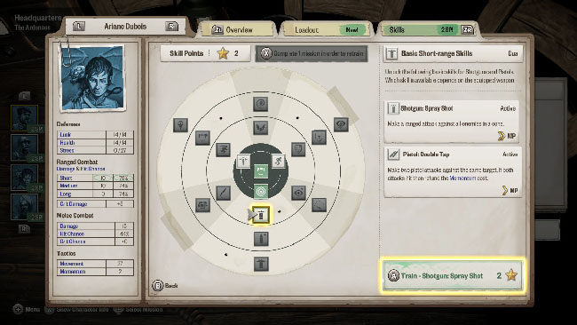 """Achtung! Cthulhu Tactics"" screenshot showing a skill tree/customization menu for one of the squad members."