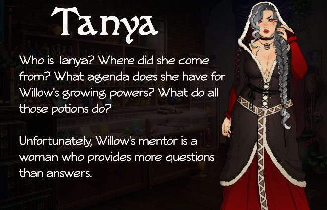 """Wicked Willow"" character illustration of Tanya, Willow's mentor. Tanya is a woman with long, gray, braided hair, and wearing dark robes over a red, long-sleeved dress. She looks young."