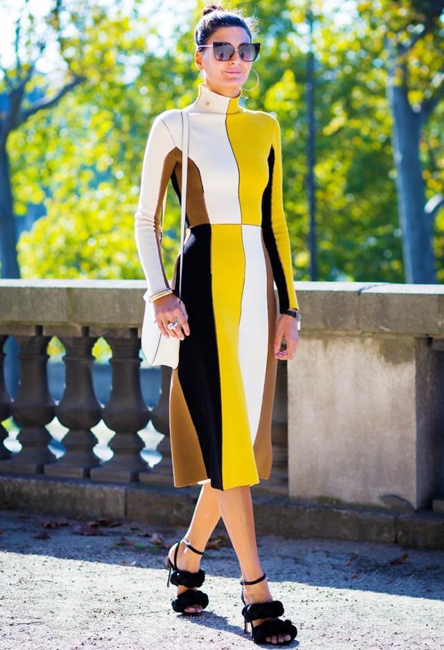 A color-block dress