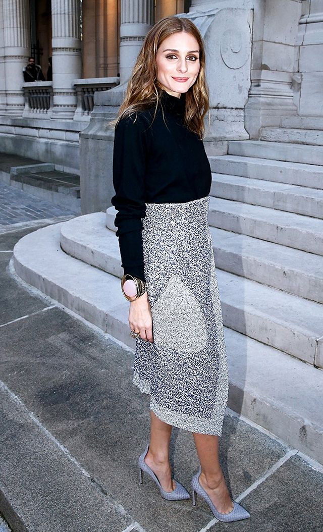 On Palermo: Christian Dior skirt; Francesco Russo Leather Pumps ($840).