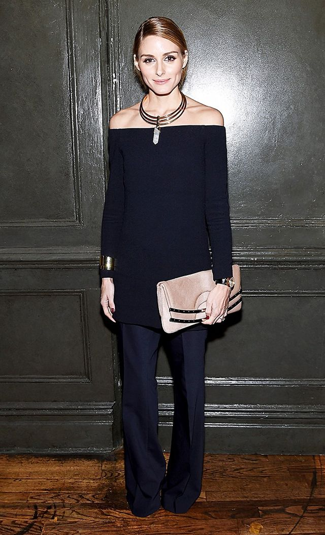 On Palermo: Tibi top; BaubleBar Occult Collar ($68); Tibi Anson Stretch Woven Flared Pants ($350).