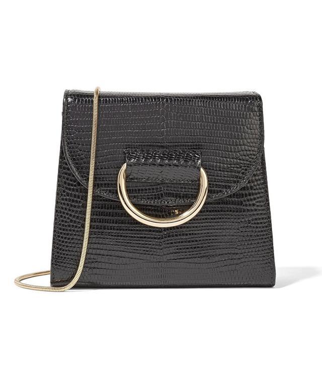 Little Liffner Tiny Box Lizard-Effect Leather Shoulder Bag