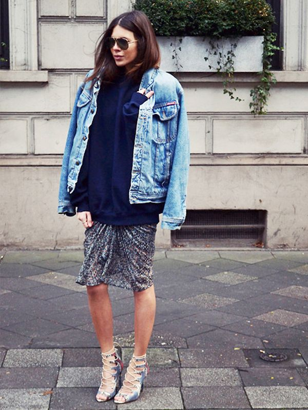 Image result for girls in distressed oversize denim jackets