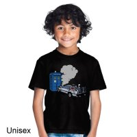 Delorean Crashes into Tardis Dr Who t-shirt by Clique Wear