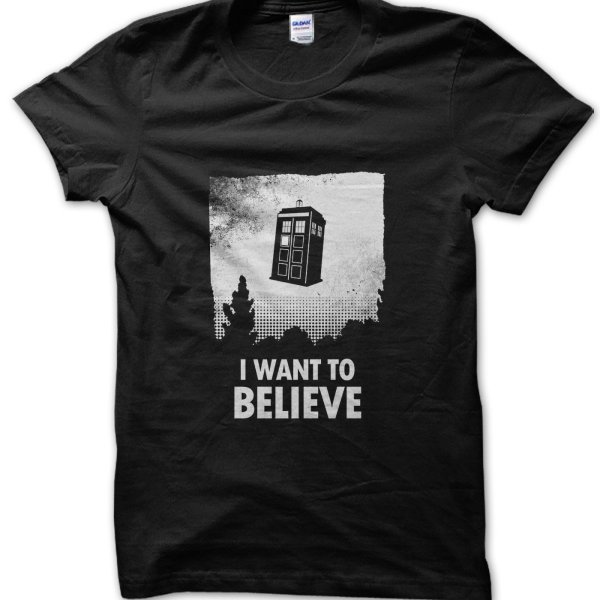 Dr Who I Want to Believe Tardis t-shirt by Clique Wear