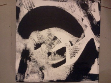 Just black and white gesson on a 12x12 deep edge canvas
