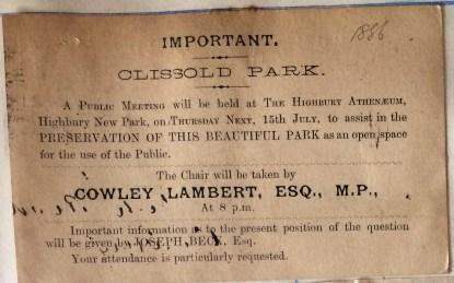 08_07_1886 Notice of public meeting Highbury Atheneum
