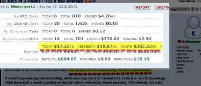Clixsense: $300 a month - $13 on average