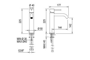 Dims: Fasson 40 mm One-lever basin mixer, 225 mm | Cloakroom Solutions