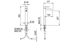 Dims: Fasson 40 mm One-lever basin mixer, 340 mm | Cloakroom Solutions
