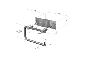 CL-222 Toilet Roll Holder Dimensions | Cloakroom Solutions