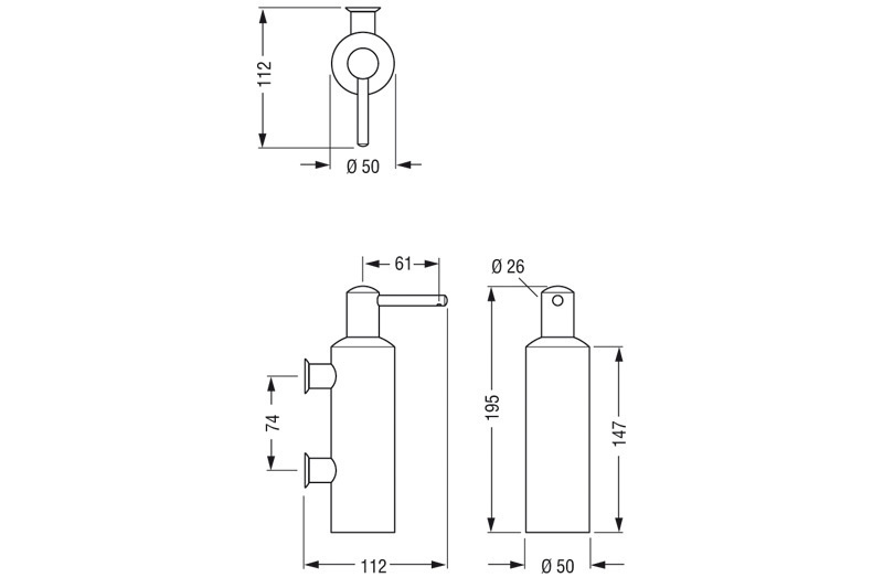 MA2.ASW CONTI+ Soap Dispenser Dimensions