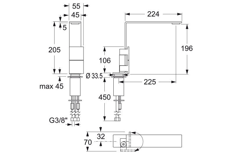 Emotion 5 two lever mixer dimensions | Cloakroom Solutions