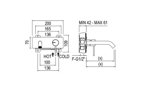 Fasson 40 UP Single Lever Wall mixer & cover dimensions | Cloakroom Solutions