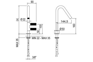 Sense 22 mm Two-lever basin mixer Dimensions | Cloakroom Solutions