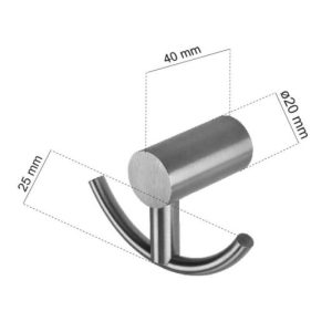 CL-205 Double Coat Hook Dimensions | Cloakroom Solutions