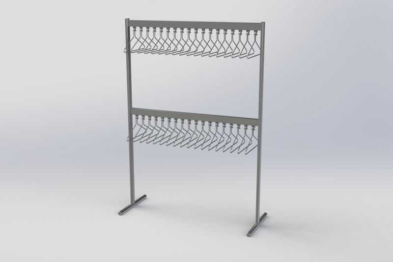 FS70x28-6 Free Standing Coat Rail | Cloakroom Solutions