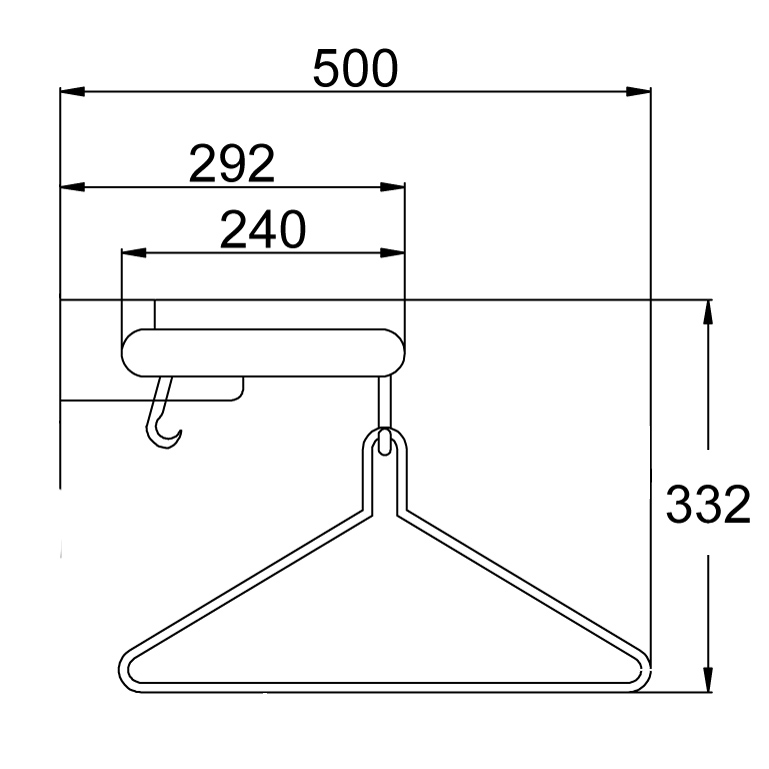 WG240 Wardrobe Rail & Shelf Dimensions | Cloakroom Solutions