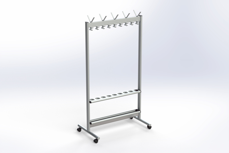 RG70x28-2 Mobile Rail with hook & umbrella rack | Cloakroom Solutions