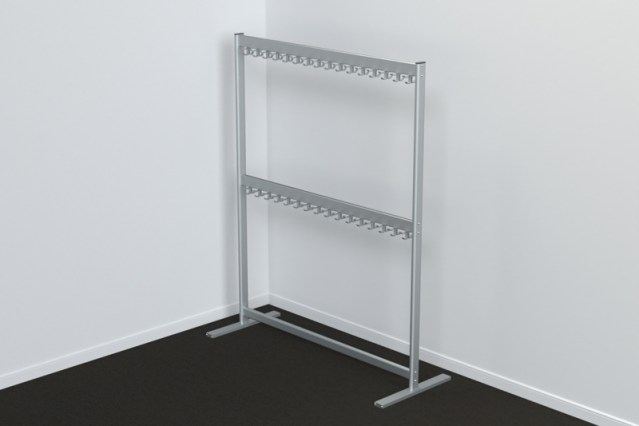 FS70x28-6-2 Free Standing Single Height Hook Rail | Cloakroom Solutions