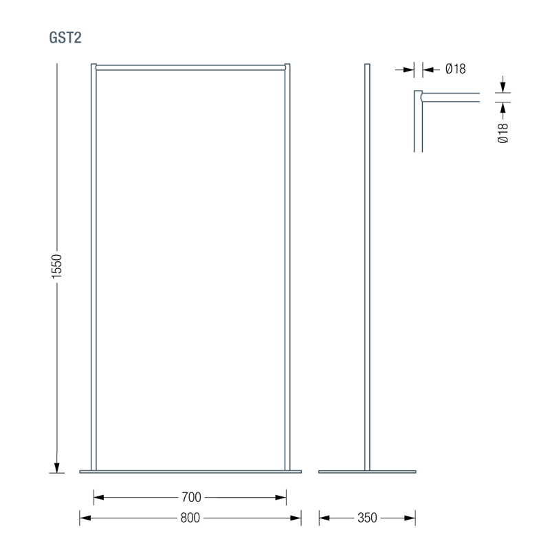 PHOS GTS2 Coat Stand Dimensions | Cloakroom Solutions