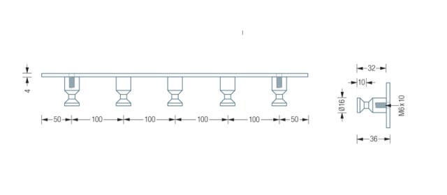 PHOS HL5 Hook Rail Dimensions | Cloakroom Solutions