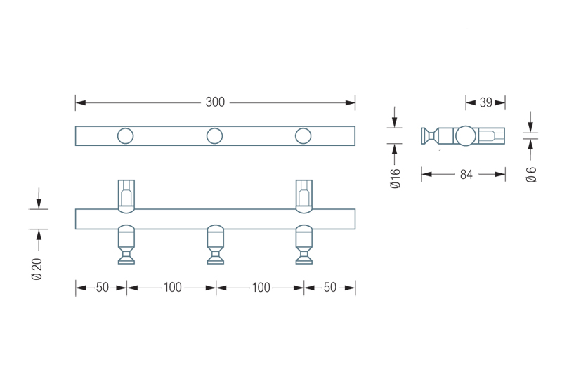 PHOS HLS3 Hook Rail Dimensions | Cloakroom Solutions
