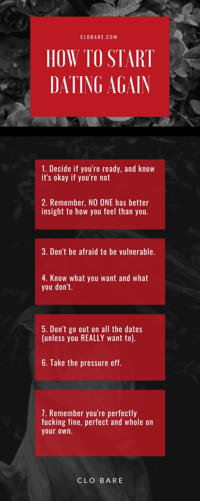 Infographic of how to start dating again.