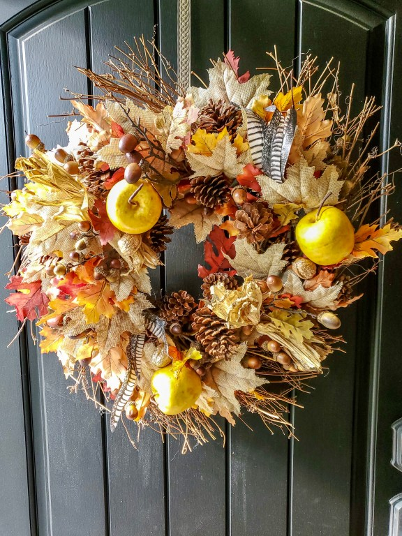 This picture is the wreath hanging on the front door.  It's full of fall colors.
