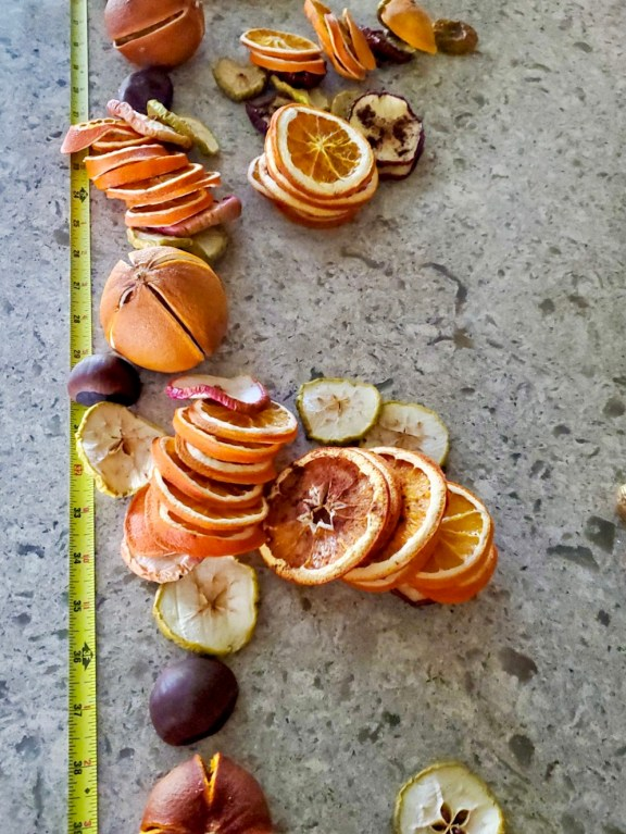 Dried oranges and apples placed in stacks to know the number of pieces needed for each section of the garland