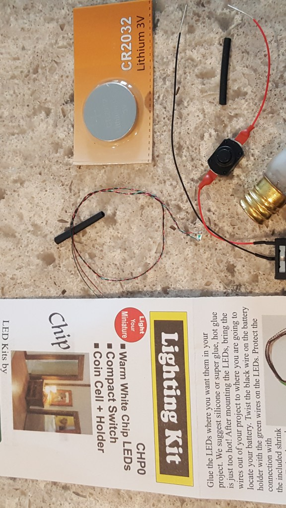 lighting kit parts and old bulb for the rustic décor DIY