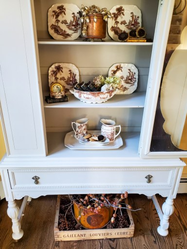 Another close up of how to add natural fall decor.  The inside of the hutch  Crate under the hutch