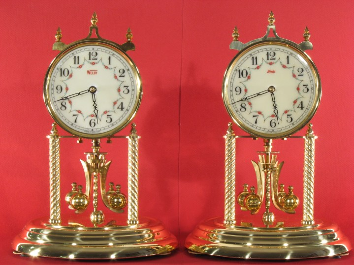 Welby and Kundo 400 day clocks with 3 5/8 inch time track dial and skeleton hands