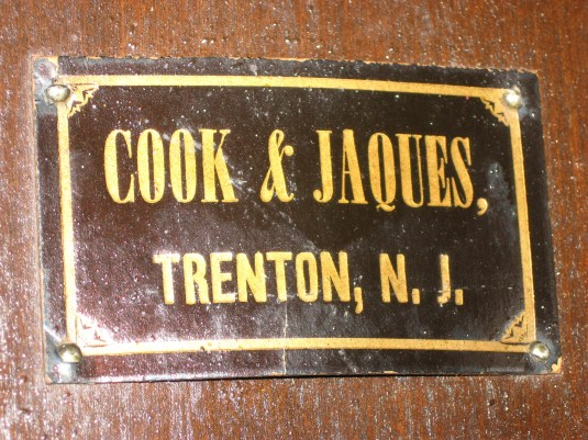 Label of Cook & Jaques, Trenton, N. J.