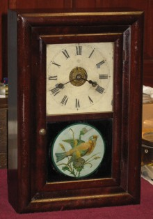 """Seth Thomas """"Round Band"""" with original bird picture on lower glass."""