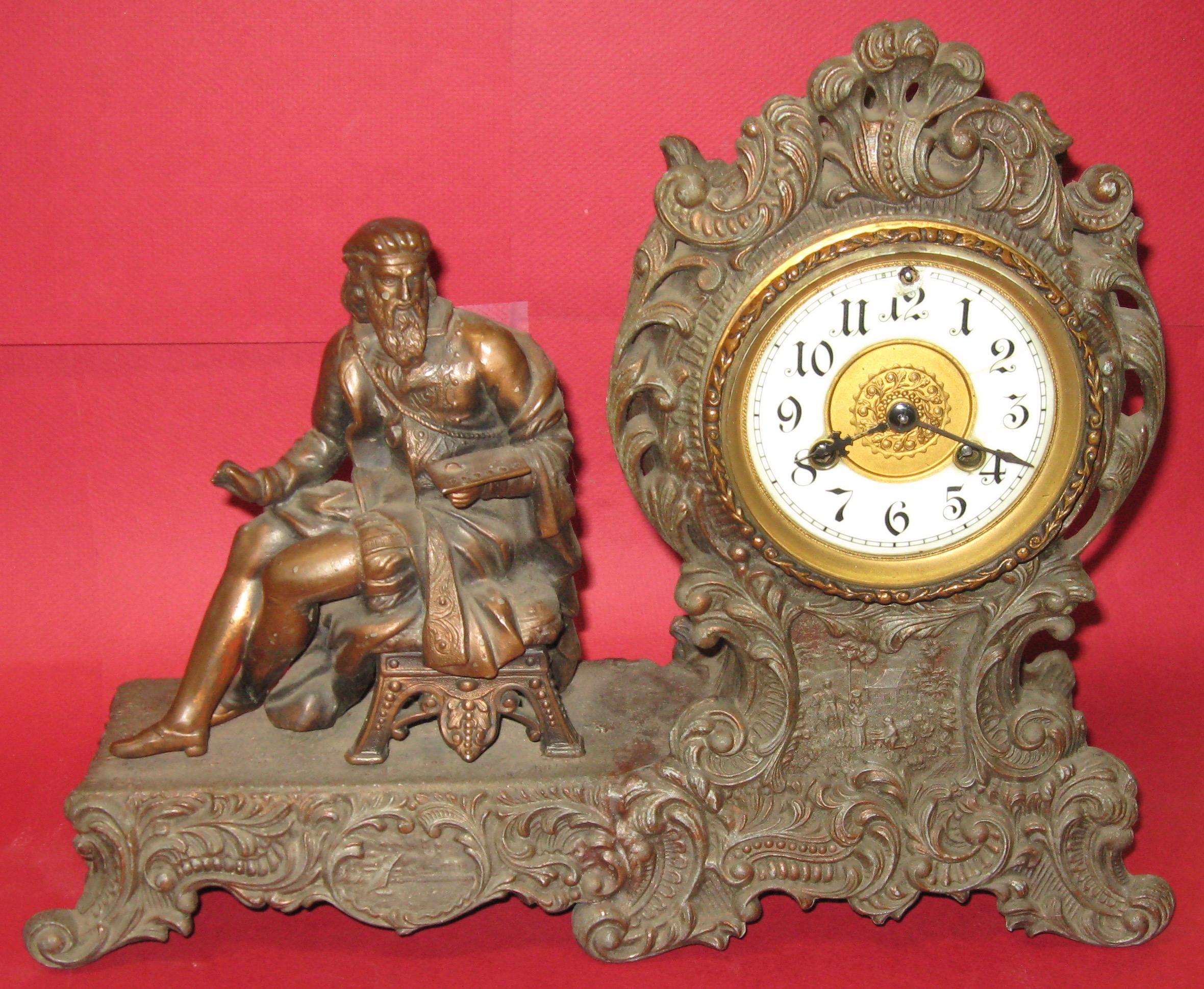 waterbury varden figure clock in metal case ca 1899 1900