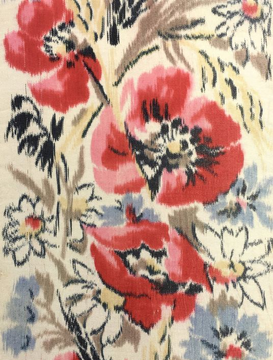 Antique silk ribbon with poppies