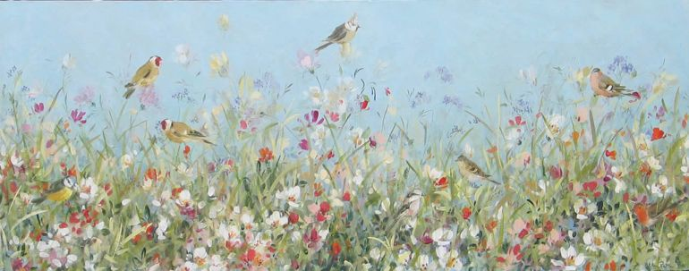 Goldfinches and Flowers