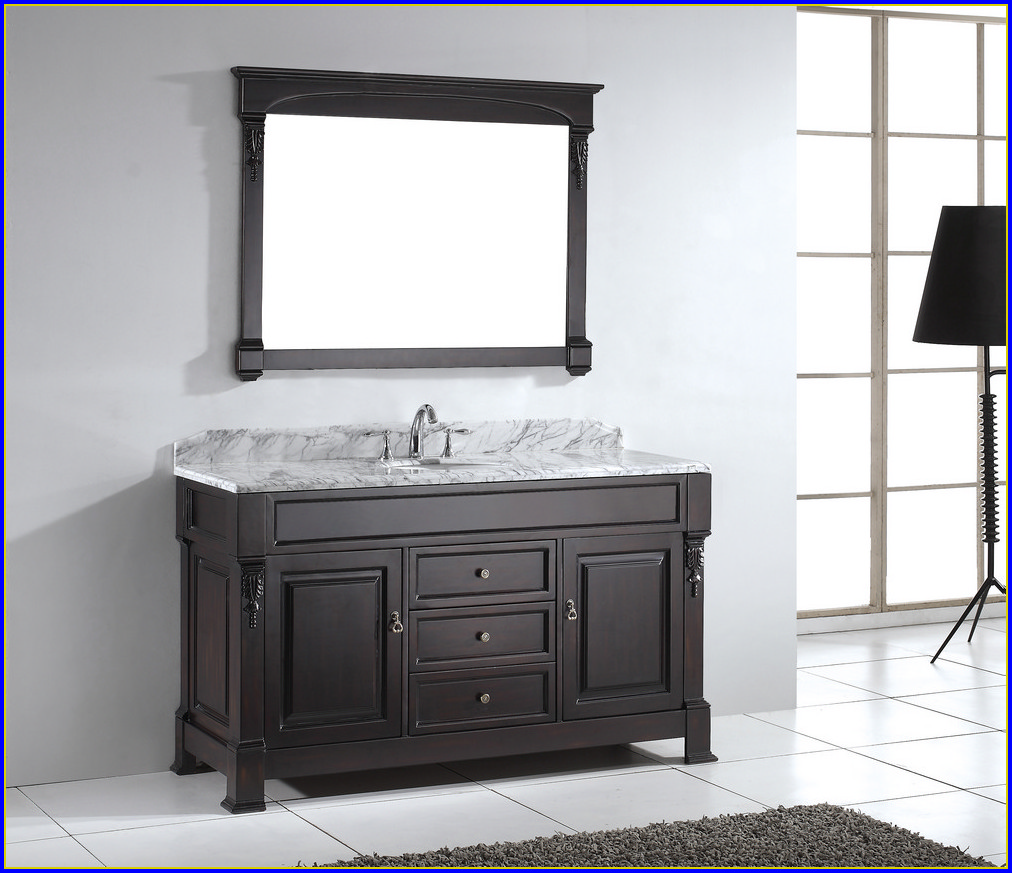 60 Inch White Vanity Single Sink